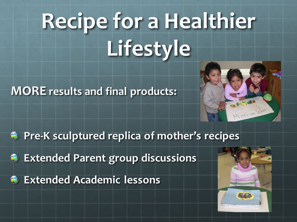 MORE results and final products: Pre-K sculptured replica of mother's recipes Extended Parent group discussions Extended Academic lessons Recipe for a Healthier Lifestyle