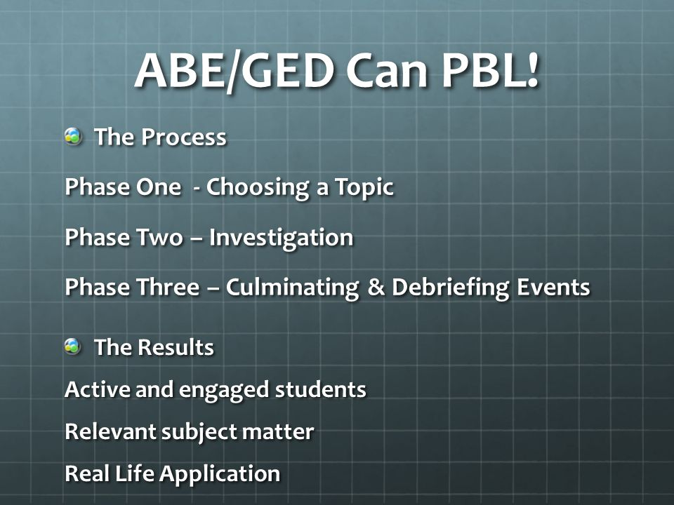 ABE/GED Can PBL! The Process Phase One - Choosing a Topic Phase Two – Investigation Phase Three – Culminating & Debriefing Events The Results Active a