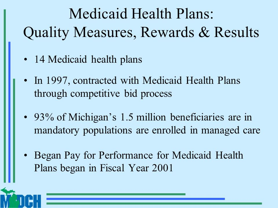 Medicaid Health Plans: Quality Measures, Rewards & Results 14 Medicaid health plans In 1997, contracted with Medicaid Health Plans through competitive bid process 93% of Michigan's 1.5 million beneficiaries are in mandatory populations are enrolled in managed care Began Pay for Performance for Medicaid Health Plans began in Fiscal Year 2001
