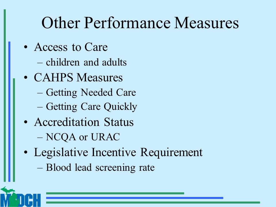 Other Performance Measures Access to Care –children and adults CAHPS Measures –Getting Needed Care –Getting Care Quickly Accreditation Status –NCQA or URAC Legislative Incentive Requirement –Blood lead screening rate