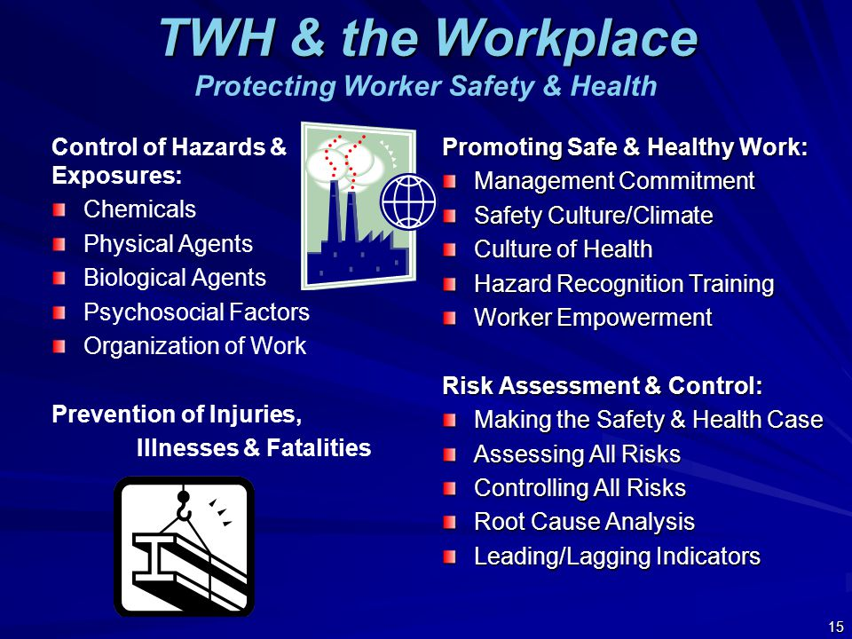 TWH & the Workplace TWH & the Workplace Protecting Worker Safety & Health Control of Hazards & Exposures: Chemicals Physical Agents Biological Agents Psychosocial Factors Organization of Work Prevention of Injuries, Illnesses & Fatalities 15 Promoting Safe & Healthy Work: Management Commitment Safety Culture/Climate Culture of Health Hazard Recognition Training Worker Empowerment Risk Assessment & Control: Making the Safety & Health Case Assessing All Risks Controlling All Risks Root Cause Analysis Leading/Lagging Indicators