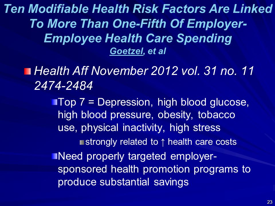 Ten Modifiable Health Risk Factors Are Linked To More Than One-Fifth Of Employer- Employee Health Care Spending Goetzel, et al Goetzel Health Aff November 2012 vol.