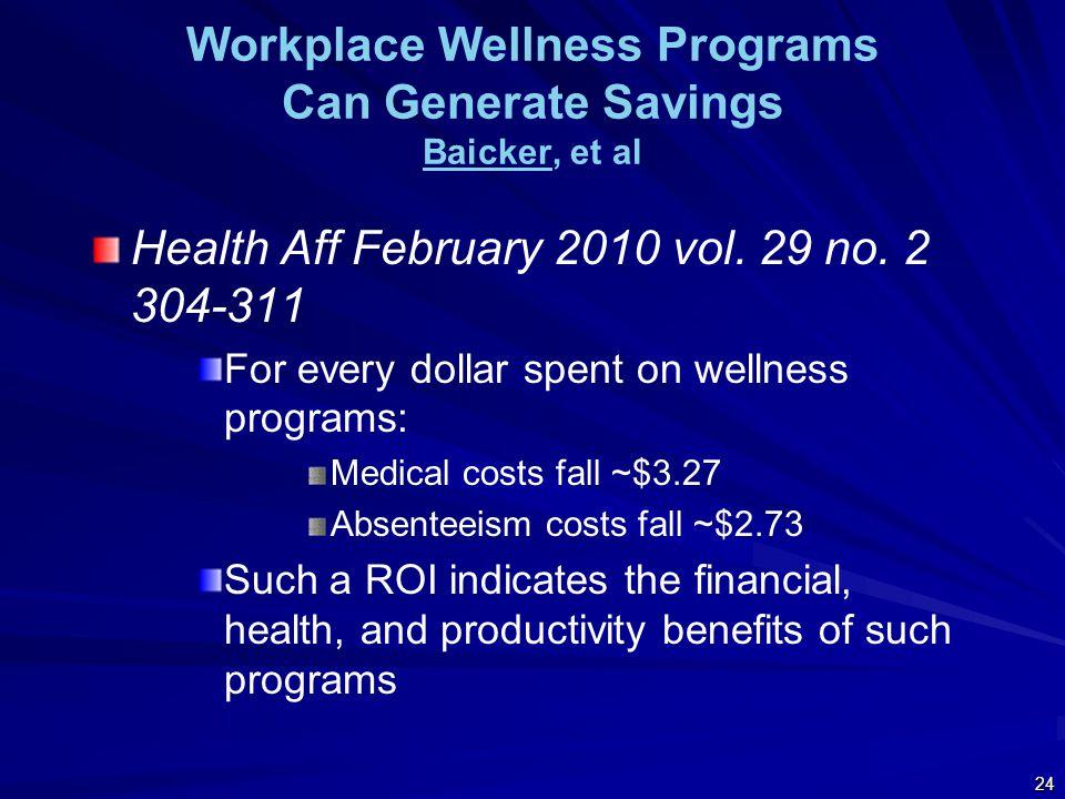 Workplace Wellness Programs Can Generate Savings Baicker, et al Baicker Health Aff February 2010 vol.