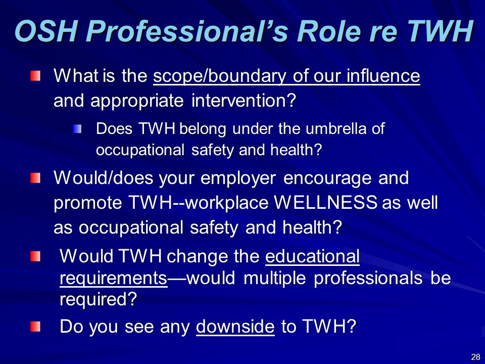 OSH Professional's Role re TWH What is the scope/boundary of our influence and appropriate intervention.