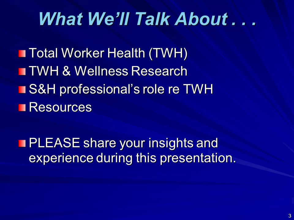 TOTAL WORKER HEALTH 4