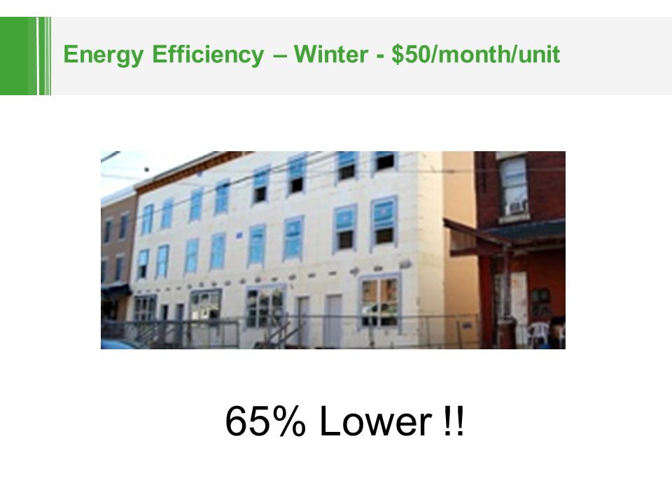 Energy Efficiency – Winter - $50/month/unit 65% Lower !!