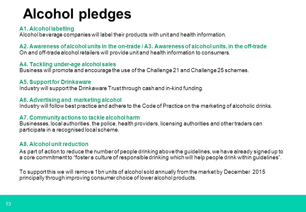 13 Alcohol pledges A1.