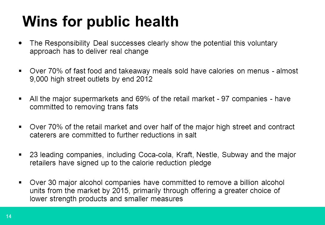 14 Wins for public health  The Responsibility Deal successes clearly show the potential this voluntary approach has to deliver real change  Over 70% of fast food and takeaway meals sold have calories on menus - almost 9,000 high street outlets by end 2012  All the major supermarkets and 69% of the retail market - 97 companies - have committed to removing trans fats  Over 70% of the retail market and over half of the major high street and contract caterers are committed to further reductions in salt  23 leading companies, including Coca-cola, Kraft, Nestle, Subway and the major retailers have signed up to the calorie reduction pledge  Over 30 major alcohol companies have committed to remove a billion alcohol units from the market by 2015, primarily through offering a greater choice of lower strength products and smaller measures