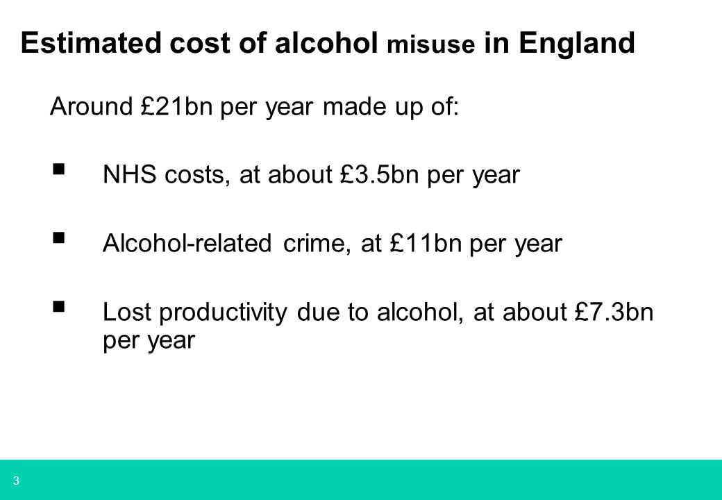 3 Estimated cost of alcohol misuse in England Around £21bn per year made up of:  NHS costs, at about £3.5bn per year  Alcohol-related crime, at £11bn per year  Lost productivity due to alcohol, at about £7.3bn per year