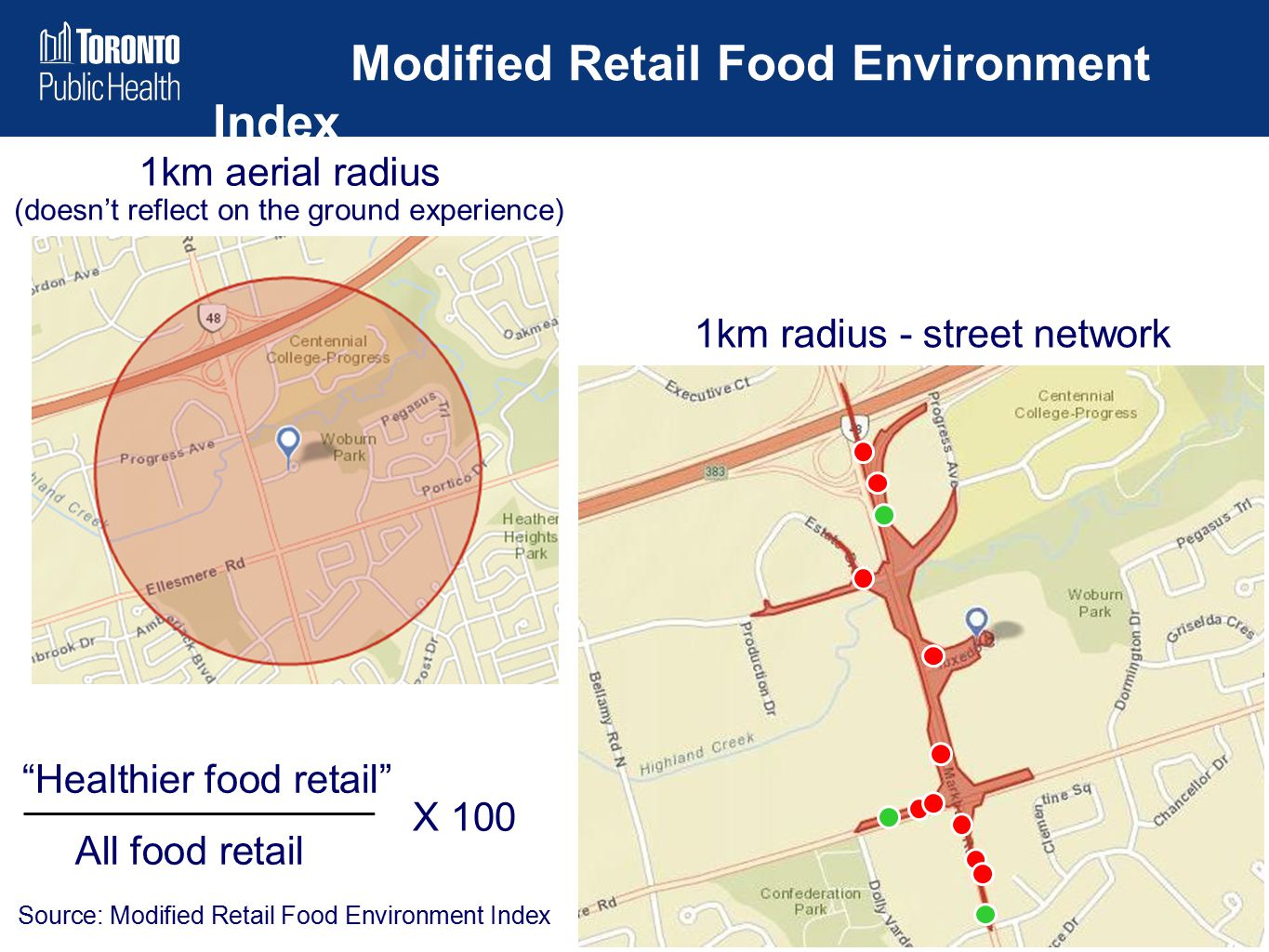 "Modified Retail Food Environment Index 1km radius - street network 1km aerial radius (doesn't reflect on the ground experience) ""Healthier food retail"