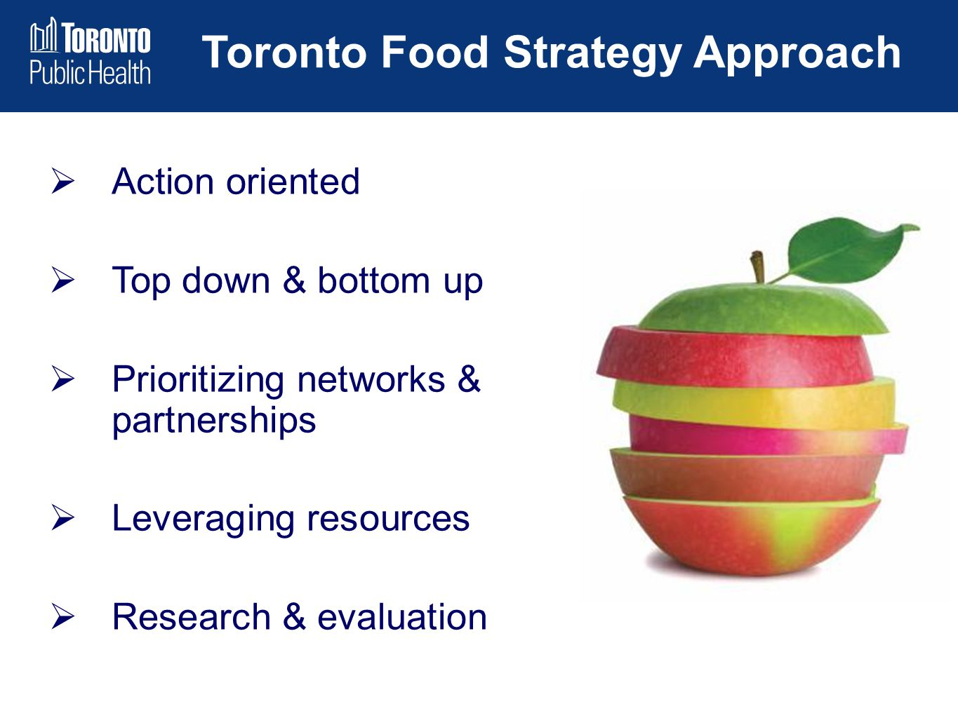 Toronto Food Strategy Approach  Action oriented  Top down & bottom up  Prioritizing networks & partnerships  Leveraging resources  Research & eva