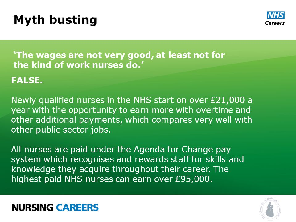 Myth busting 'The wages are not very good, at least not for the kind of work nurses do.' FALSE.