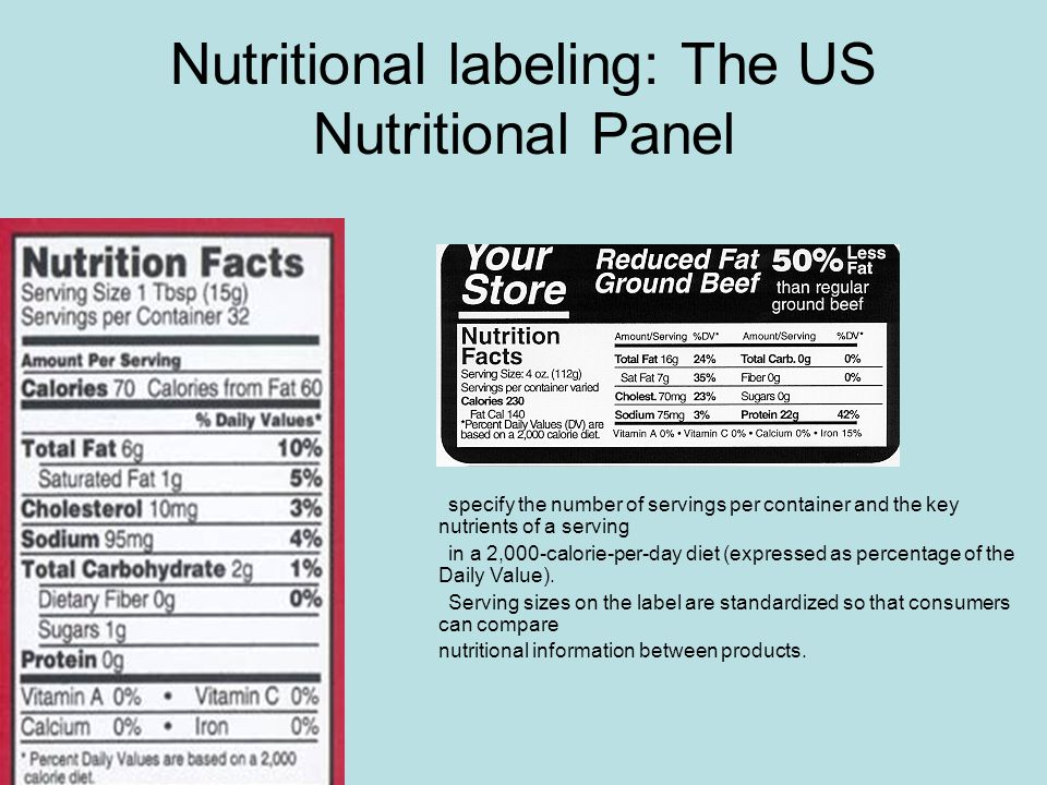Nutritional labeling: The US Nutritional Panel specify the number of servings per container and the key nutrients of a serving in a 2,000-calorie-per-day diet (expressed as percentage of the Daily Value).