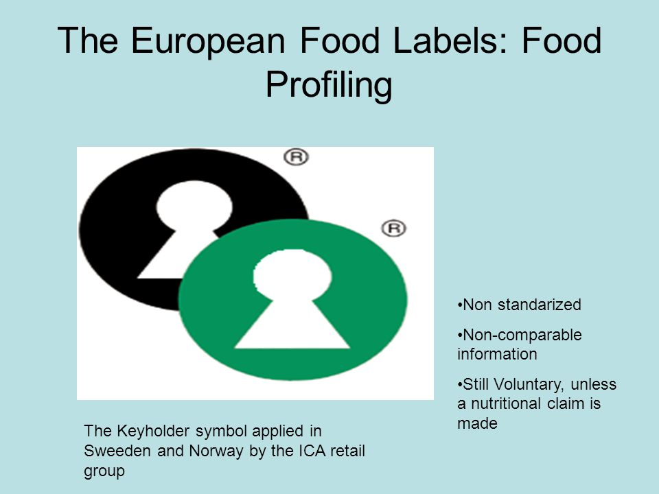 The European Food Labels: Food Profiling Non standarized Non-comparable information Still Voluntary, unless a nutritional claim is made The Keyholder symbol applied in Sweeden and Norway by the ICA retail group