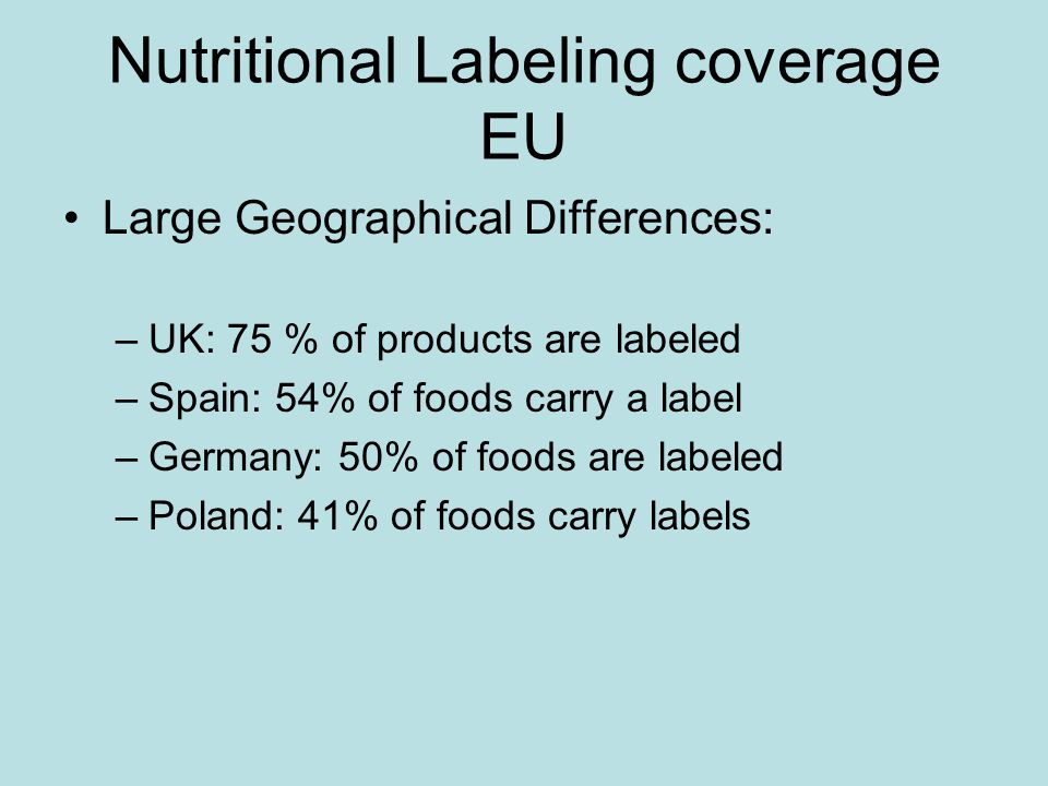 Nutritional Labeling coverage EU Large Geographical Differences: –UK: 75 % of products are labeled –Spain: 54% of foods carry a label –Germany: 50% of foods are labeled –Poland: 41% of foods carry labels