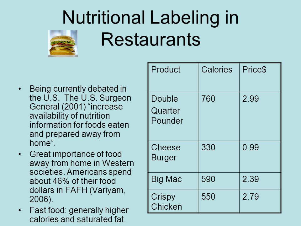 Nutritional Labeling in Restaurants Being currently debated in the U.S.