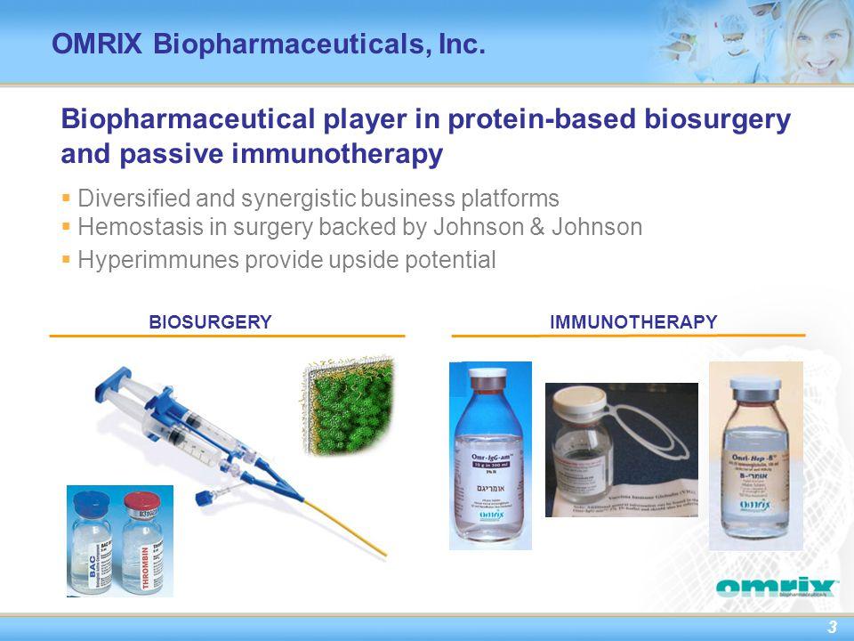 3 OMRIX Biopharmaceuticals, Inc.