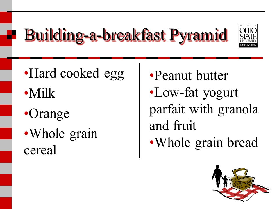 Building-a-breakfast Pyramid Hard cooked egg Milk Orange Whole grain cereal Peanut butter Low-fat yogurt parfait with granola and fruit Whole grain br