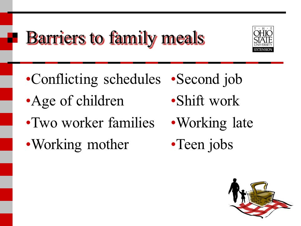Barriers to family meals Conflicting schedules Age of children Two worker families Working mother Second job Shift work Working late Teen jobs