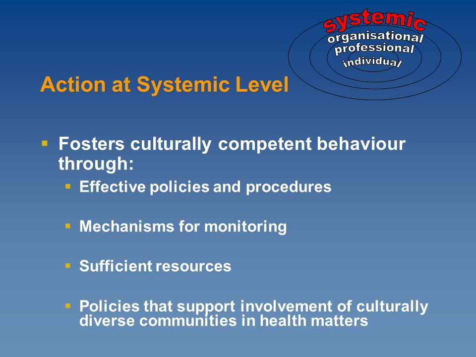  Fosters culturally competent behaviour through:  Effective policies and procedures  Mechanisms for monitoring  Sufficient resources  Policies that support involvement of culturally diverse communities in health matters Action at Systemic Level