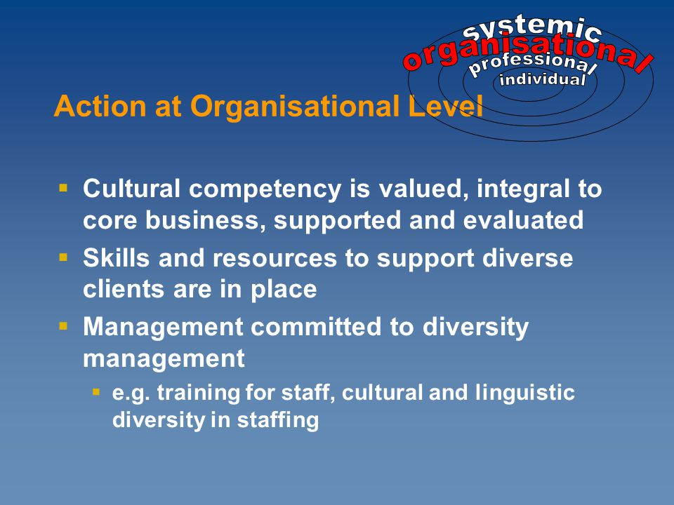  Cultural competency is valued, integral to core business, supported and evaluated  Skills and resources to support diverse clients are in place  Management committed to diversity management  e.g.