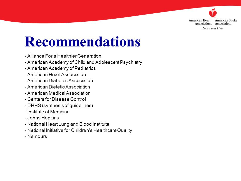 Recommendations - Alliance For a Healthier Generation - American Academy of Child and Adolescent Psychiatry - American Academy of Pediatrics - American Heart Association - American Diabetes Association - American Dietetic Association - American Medical Association - Centers for Disease Control - DHHS (synthesis of guidelines) - Institute of Medicine - Johns Hopkins - National Heart Lung and Blood Institute - National Initiative for Children's Healthcare Quality - Nemours