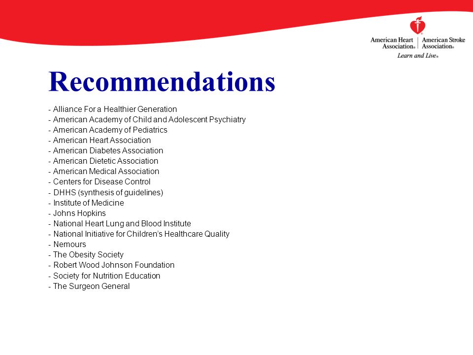 Recommendations - Alliance For a Healthier Generation - American Academy of Child and Adolescent Psychiatry - American Academy of Pediatrics - American Heart Association - American Diabetes Association - American Dietetic Association - American Medical Association - Centers for Disease Control - DHHS (synthesis of guidelines) - Institute of Medicine - Johns Hopkins - National Heart Lung and Blood Institute - National Initiative for Children's Healthcare Quality - Nemours - The Obesity Society - Robert Wood Johnson Foundation - Society for Nutrition Education - The Surgeon General