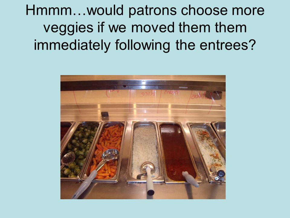 Hmmm…would patrons choose more veggies if we moved them them immediately following the entrees?