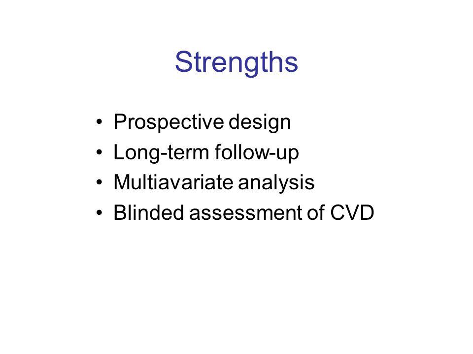 Strengths Prospective design Long-term follow-up Multiavariate analysis Blinded assessment of CVD