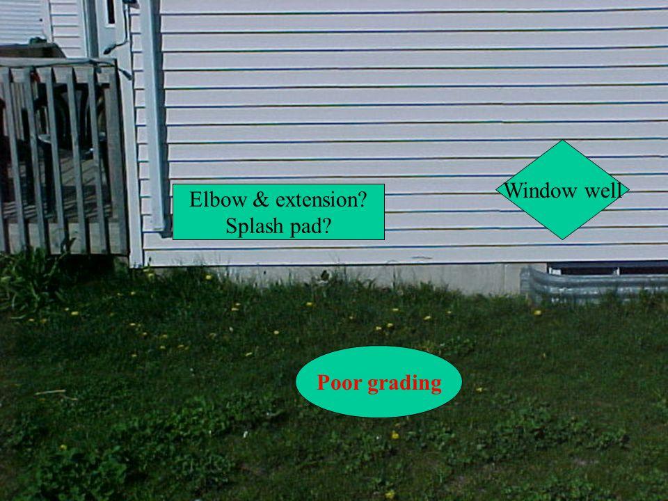 Poor grading Elbow & extension? Splash pad? Window well