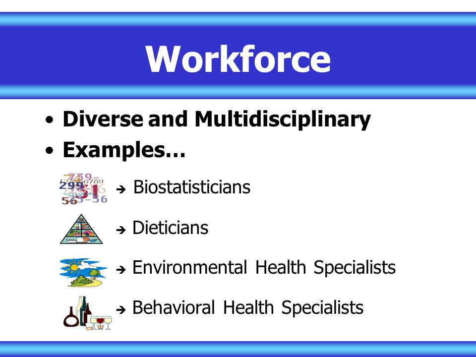 Workforce Diverse and Multidisciplinary Examples…  Biostatisticians  Dieticians  Environmental Health Specialists  Behavioral Health Specialists