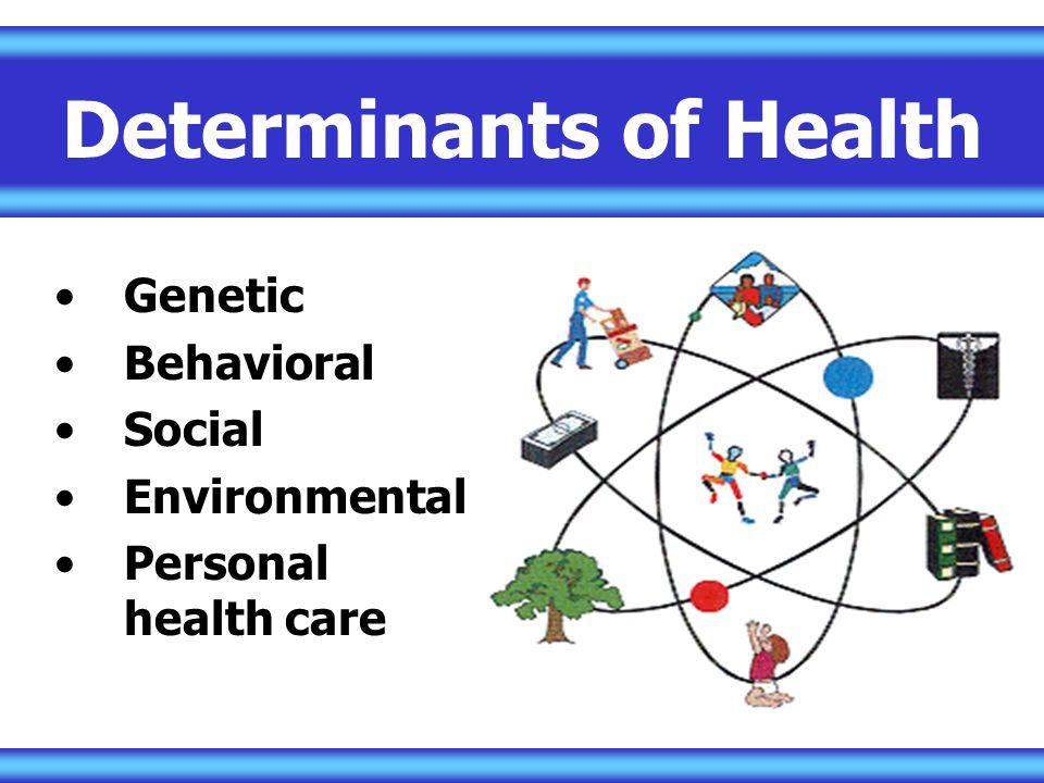 Genetic Behavioral Social Environmental Personal health care