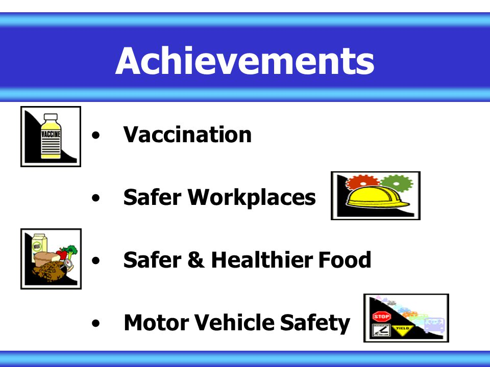 Achievements Vaccination Safer Workplaces Safer & Healthier Food Motor Vehicle Safety