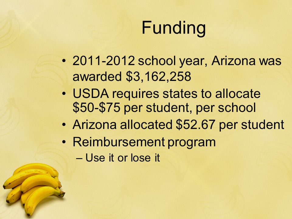 Funding 2011-2012 school year, Arizona was awarded $3,162,258 USDA requires states to allocate $50-$75 per student, per school Arizona allocated $52.67 per student Reimbursement program –Use it or lose it