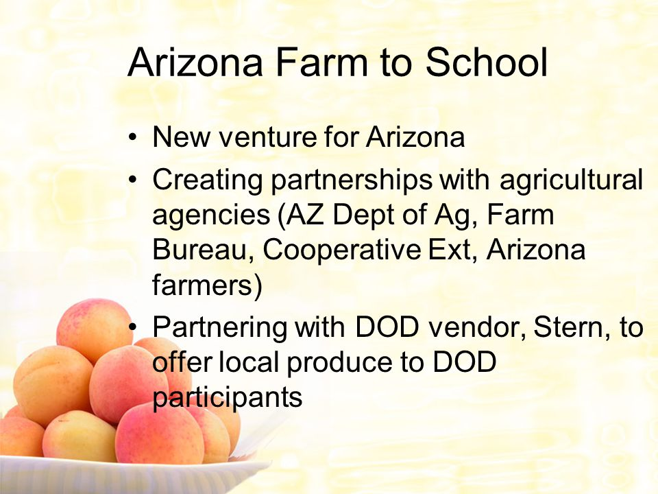 Arizona Farm to School New venture for Arizona Creating partnerships with agricultural agencies (AZ Dept of Ag, Farm Bureau, Cooperative Ext, Arizona farmers) Partnering with DOD vendor, Stern, to offer local produce to DOD participants