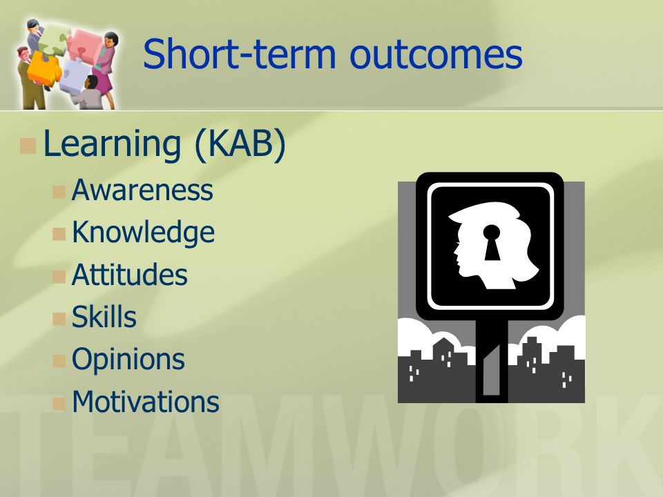 Short-term outcomes Learning (KAB) Awareness Knowledge Attitudes Skills Opinions Motivations