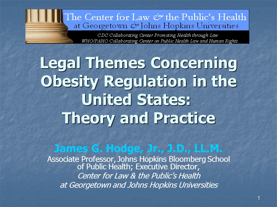 1 Legal Themes Concerning Obesity Regulation in the United States: Theory and Practice James G.