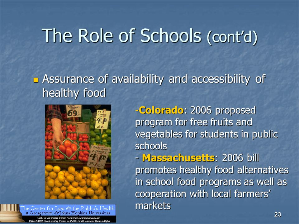 23 The Role of Schools (cont'd) Assurance of availability and accessibility of healthy food Assurance of availability and accessibility of healthy foo