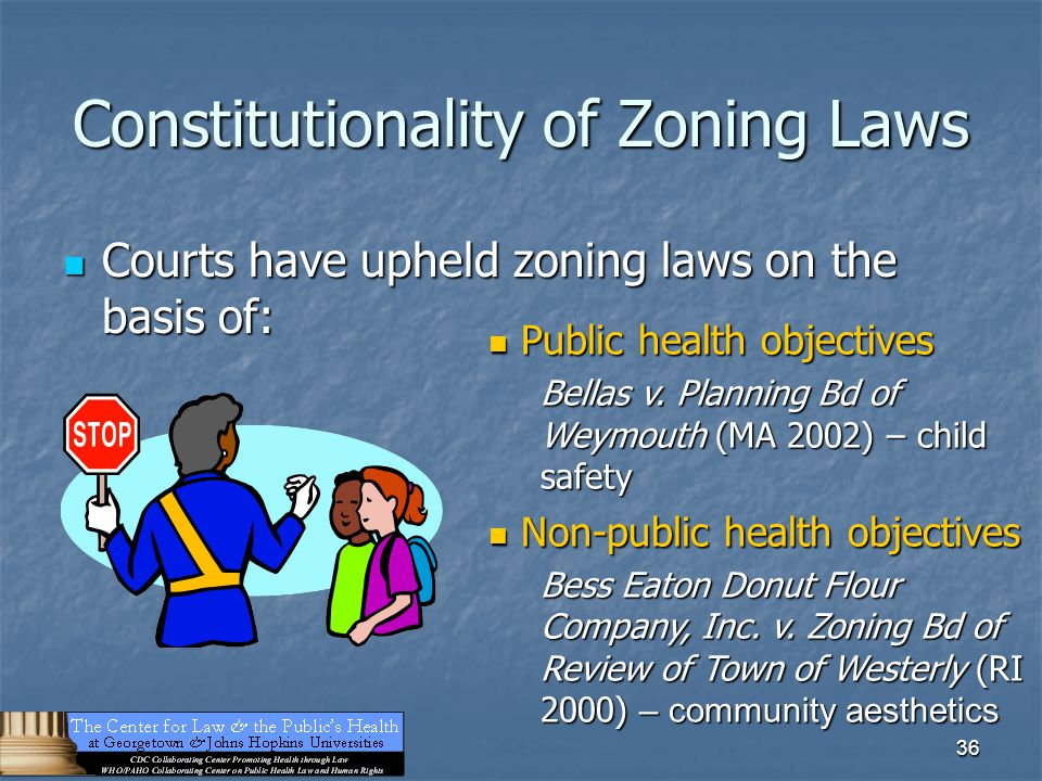 36 Constitutionality of Zoning Laws Courts have upheld zoning laws on the basis of: Courts have upheld zoning laws on the basis of: Public health obje