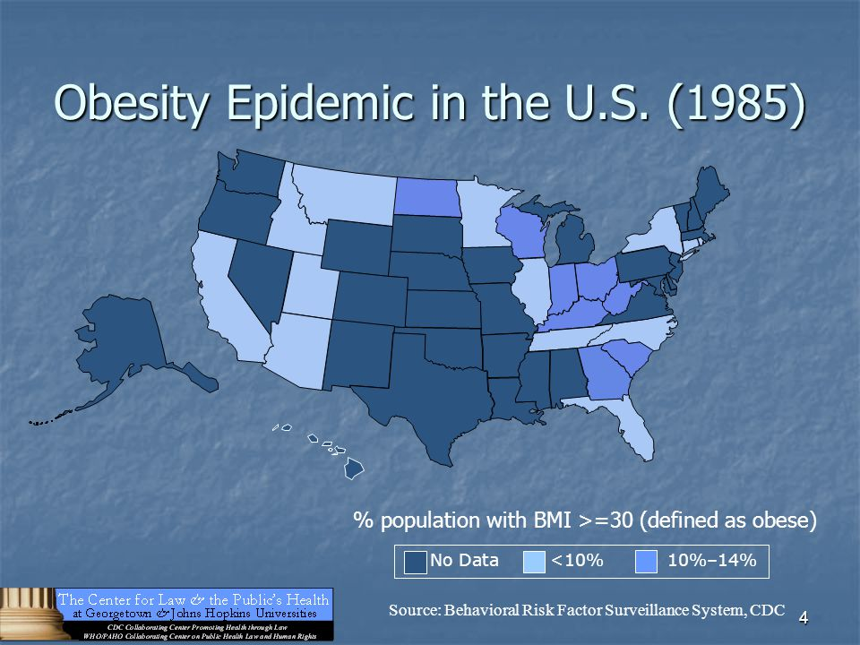 4 Obesity Epidemic in the U.S. (1985) No Data <10% 10%–14% Source: Behavioral Risk Factor Surveillance System, CDC % population with BMI >=30 (defined