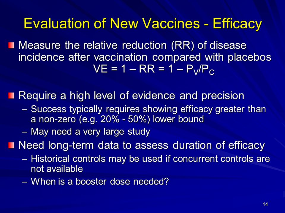 14 Evaluation of New Vaccines - Efficacy Measure the relative reduction (RR) of disease incidence after vaccination compared with placebos VE = 1 – RR = 1 – P V /P C Require a high level of evidence and precision –Success typically requires showing efficacy greater than a non-zero (e.g.