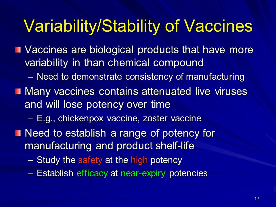17 Variability/Stability of Vaccines Vaccines are biological products that have more variability in than chemical compound –Need to demonstrate consistency of manufacturing Many vaccines contains attenuated live viruses and will lose potency over time –E.g., chickenpox vaccine, zoster vaccine Need to establish a range of potency for manufacturing and product shelf-life –Study the safety at the high potency –Establish efficacy at near-expiry potencies