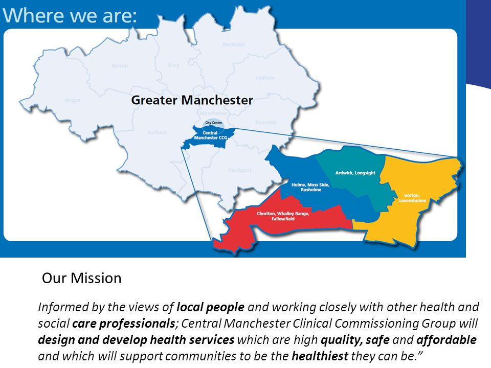 Informed by the views of local people and working closely with other health and social care professionals; Central Manchester Clinical Commissioning Group will design and develop health services which are high quality, safe and affordable and which will support communities to be the healthiest they can be. Our Mission