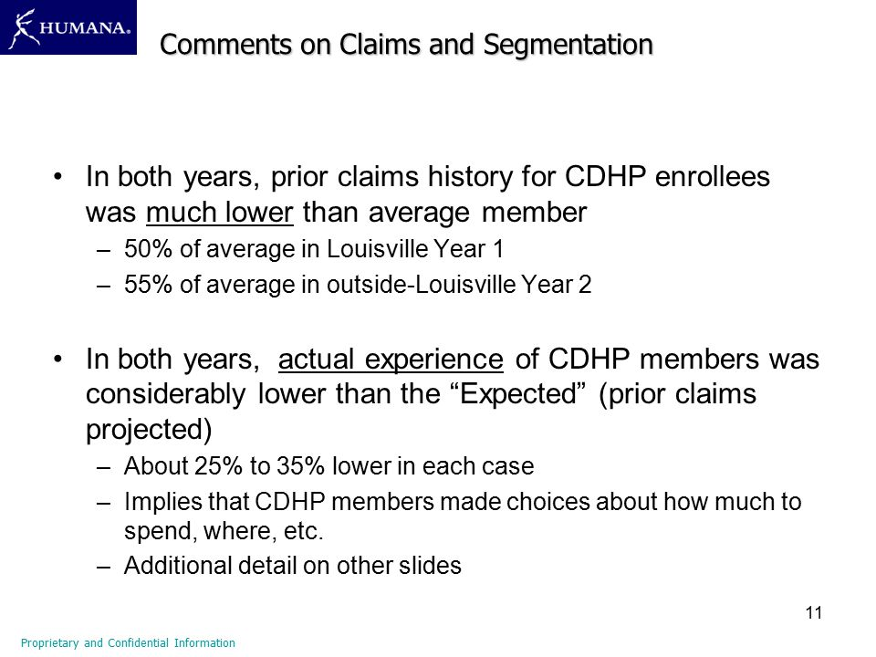 11 In both years, prior claims history for CDHP enrollees was much lower than average member –50% of average in Louisville Year 1 –55% of average in o