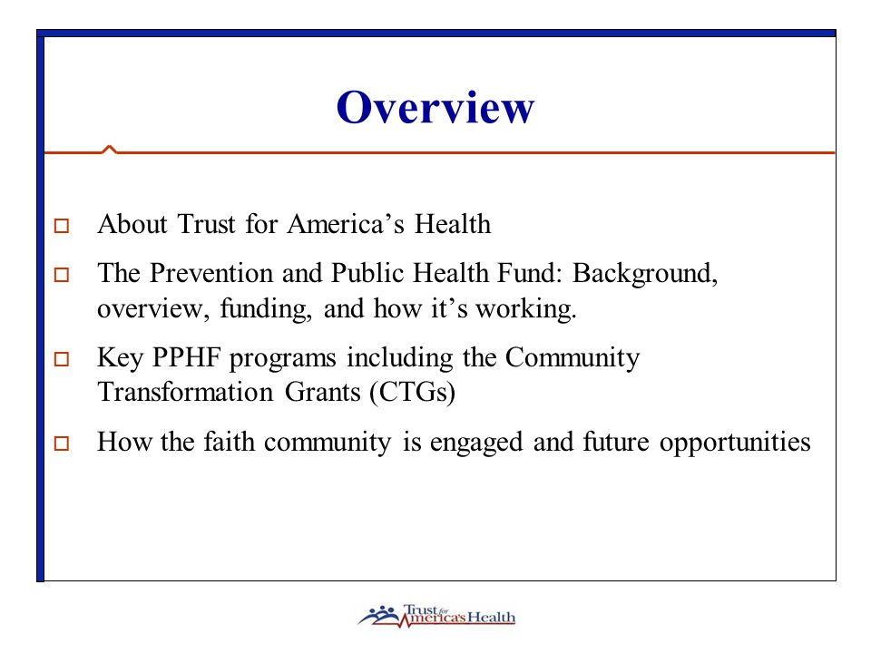 About TFAH: Who We Are  Trust for America's Health (TFAH) is a non-profit, non-partisan organization dedicated to saving lives by protecting the health of every community and working to make disease prevention a national priority.