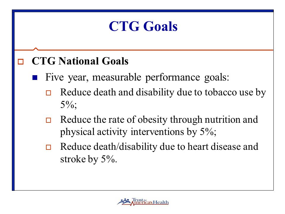 CTG Goals  CTG National Goals Five year, measurable performance goals:  Reduce death and disability due to tobacco use by 5%;  Reduce the rate of obesity through nutrition and physical activity interventions by 5%;  Reduce death/disability due to heart disease and stroke by 5%.