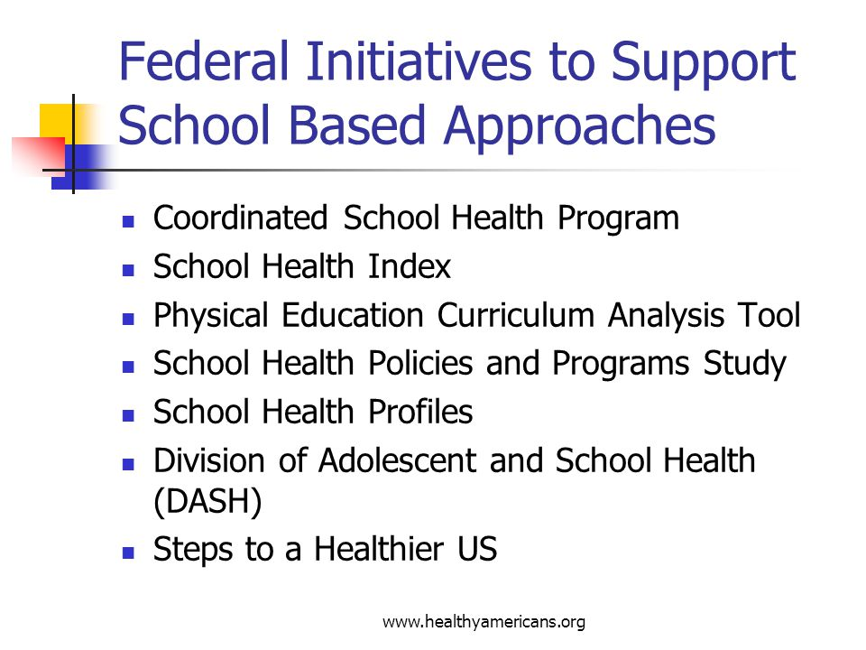 www.healthyamericans.org Federal Initiatives to Support School Based Approaches Coordinated School Health Program School Health Index Physical Education Curriculum Analysis Tool School Health Policies and Programs Study School Health Profiles Division of Adolescent and School Health (DASH) Steps to a Healthier US