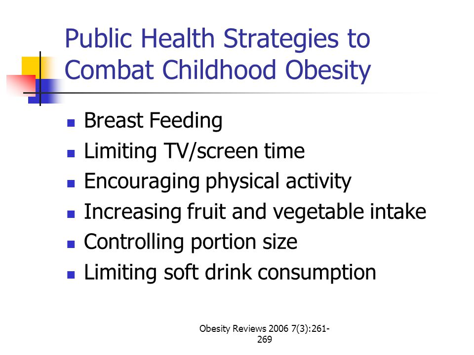 Obesity Reviews 2006 7(3):261- 269 Public Health Strategies to Combat Childhood Obesity Breast Feeding Limiting TV/screen time Encouraging physical activity Increasing fruit and vegetable intake Controlling portion size Limiting soft drink consumption