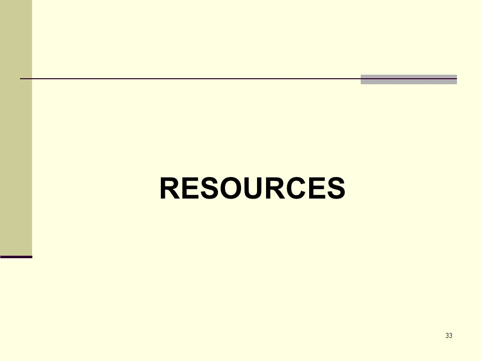 33 RESOURCES