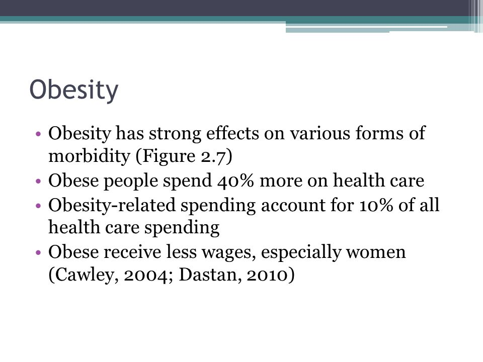 Obesity Obesity has strong effects on various forms of morbidity (Figure 2.7) Obese people spend 40% more on health care Obesity-related spending acco